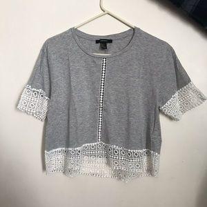 Lace/jersey blouse